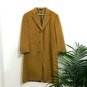Wool Burberry Long Tan Button Trench Coat